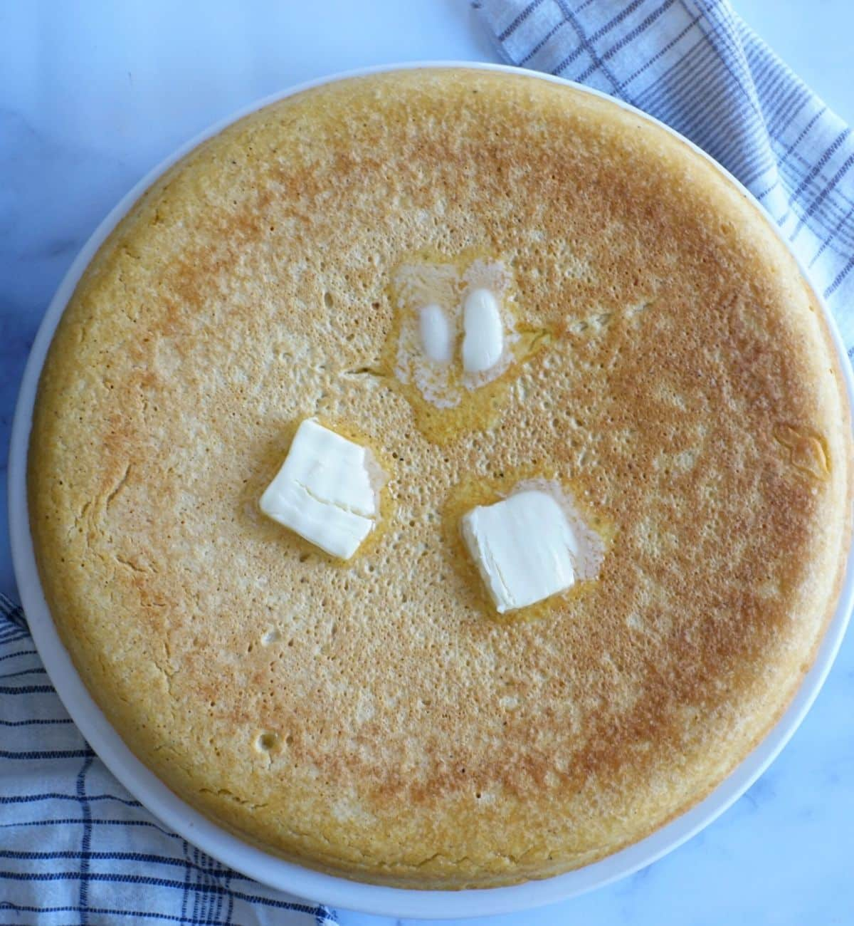southern cornbread pone with butter