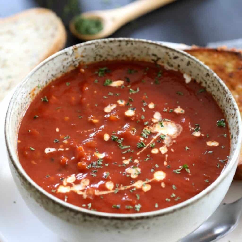 instant pot tomato soup in a bowl