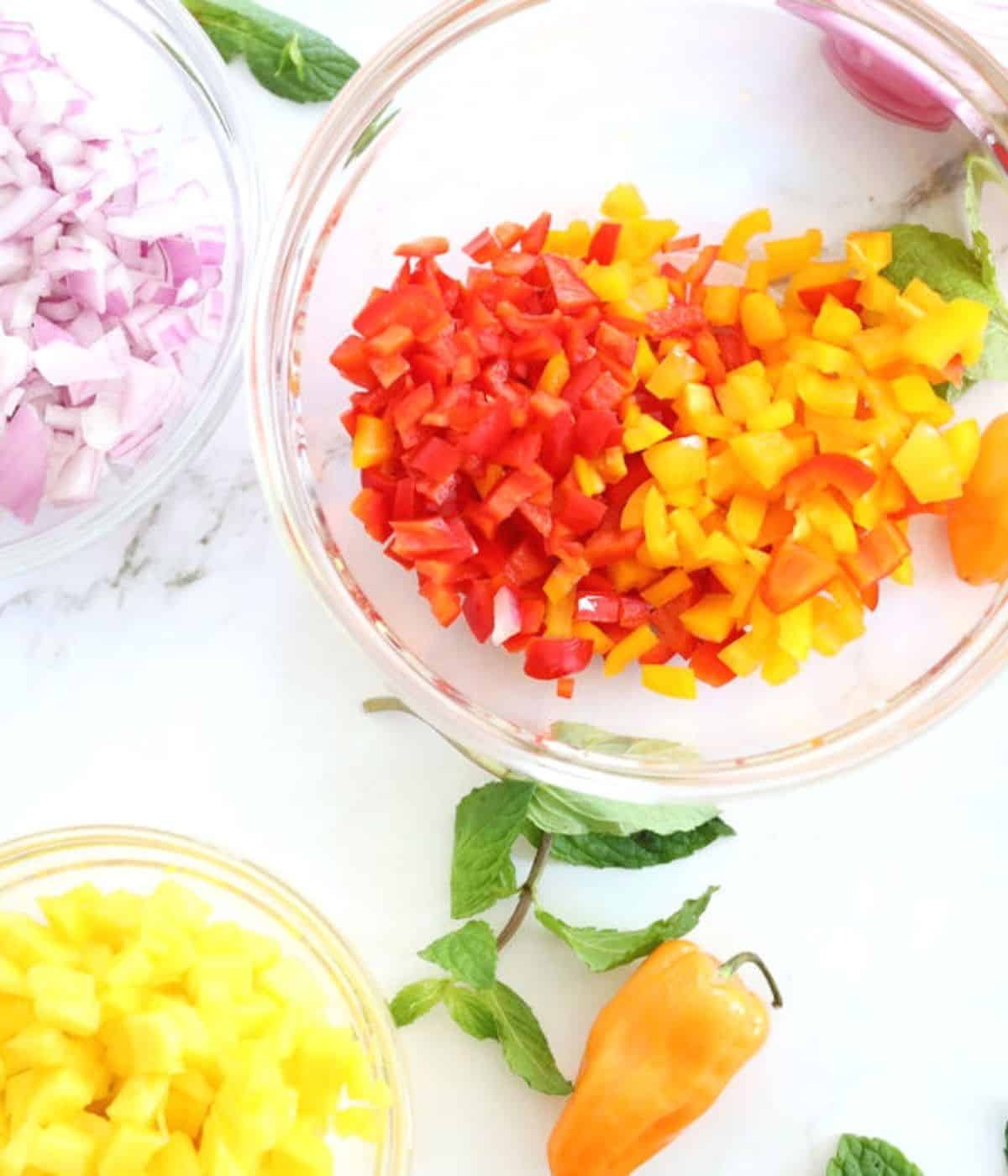 bowls with pepper onion mango