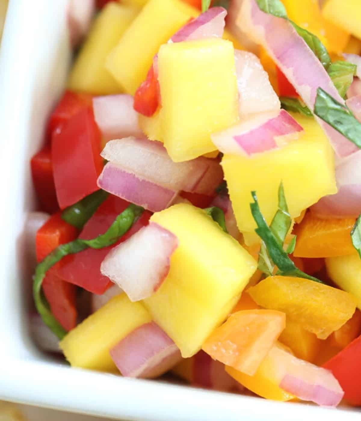 mango salsa with mint and red onion