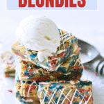 red, white and blue blondie dessert