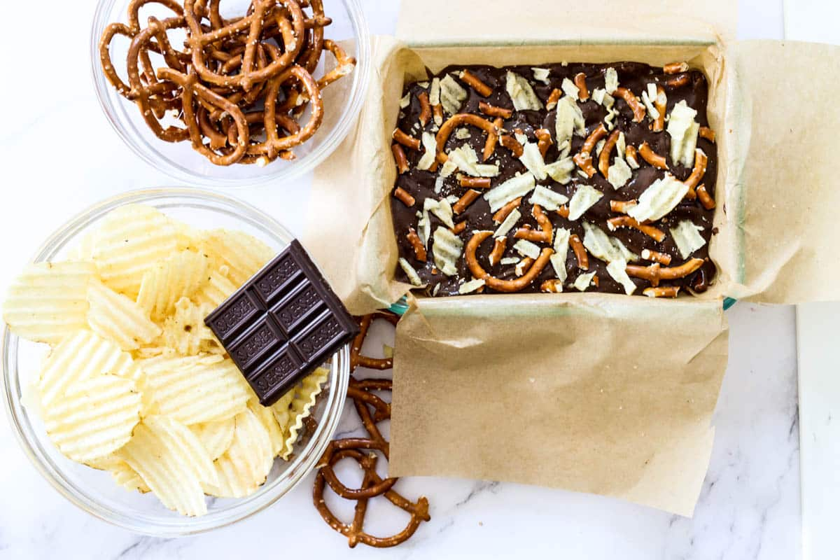 chocolate with potato chips and pretzels
