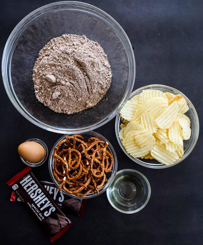 brownie mix, potato chips, pretzels, vegetable oil, hersheys candy bar, egg