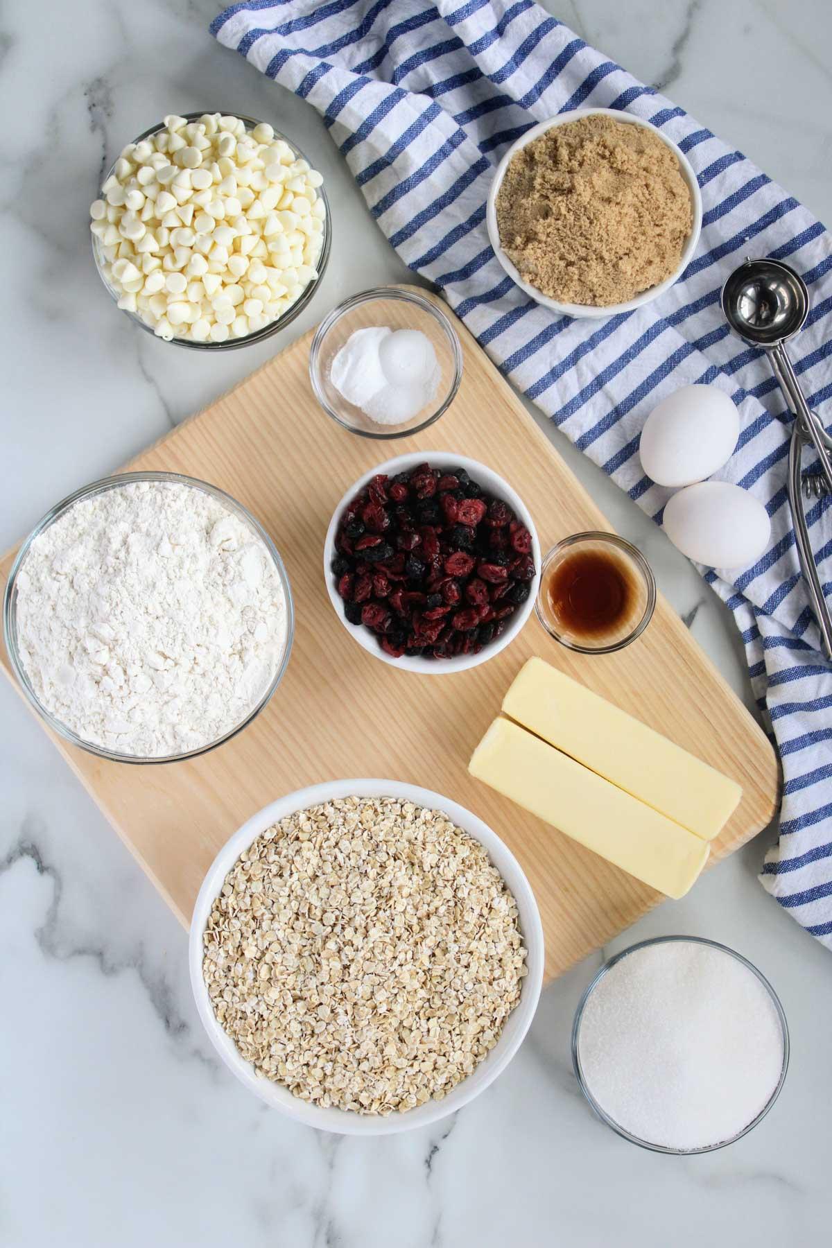 ingredients for oatmeal cookies