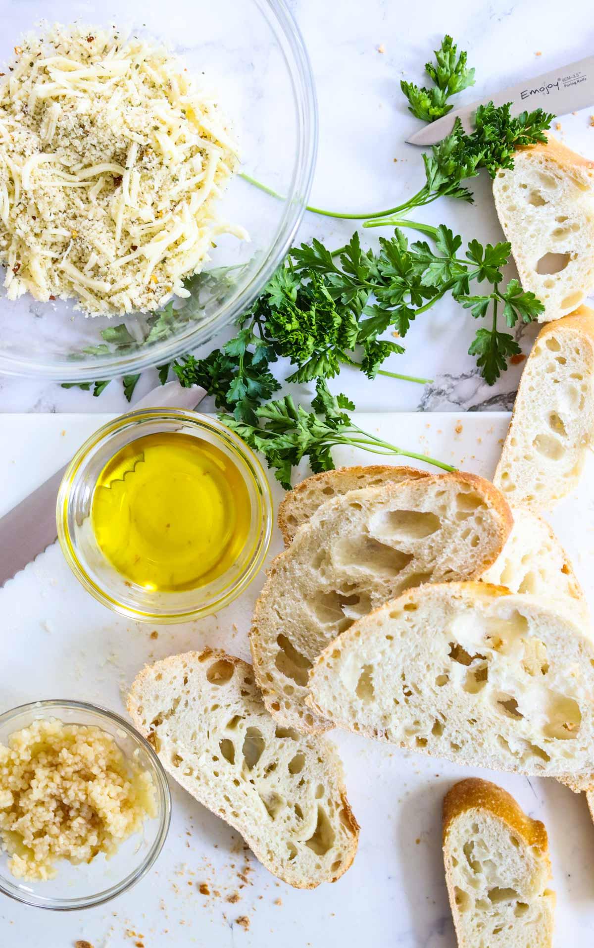 ingredients for garlic bread