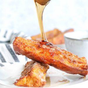 pumpkin pie french toast sticks with syrup