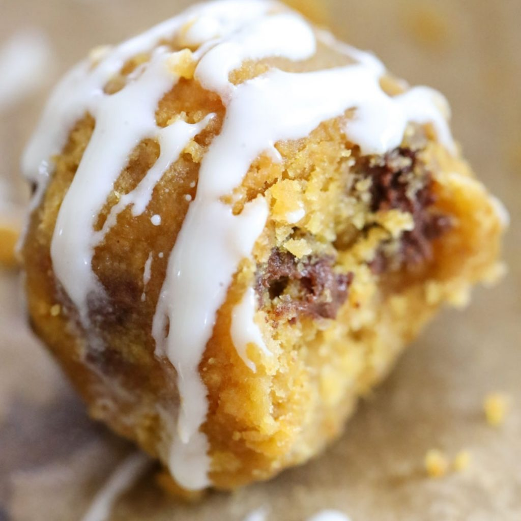 pumpkin chocolate chip bites with frosting