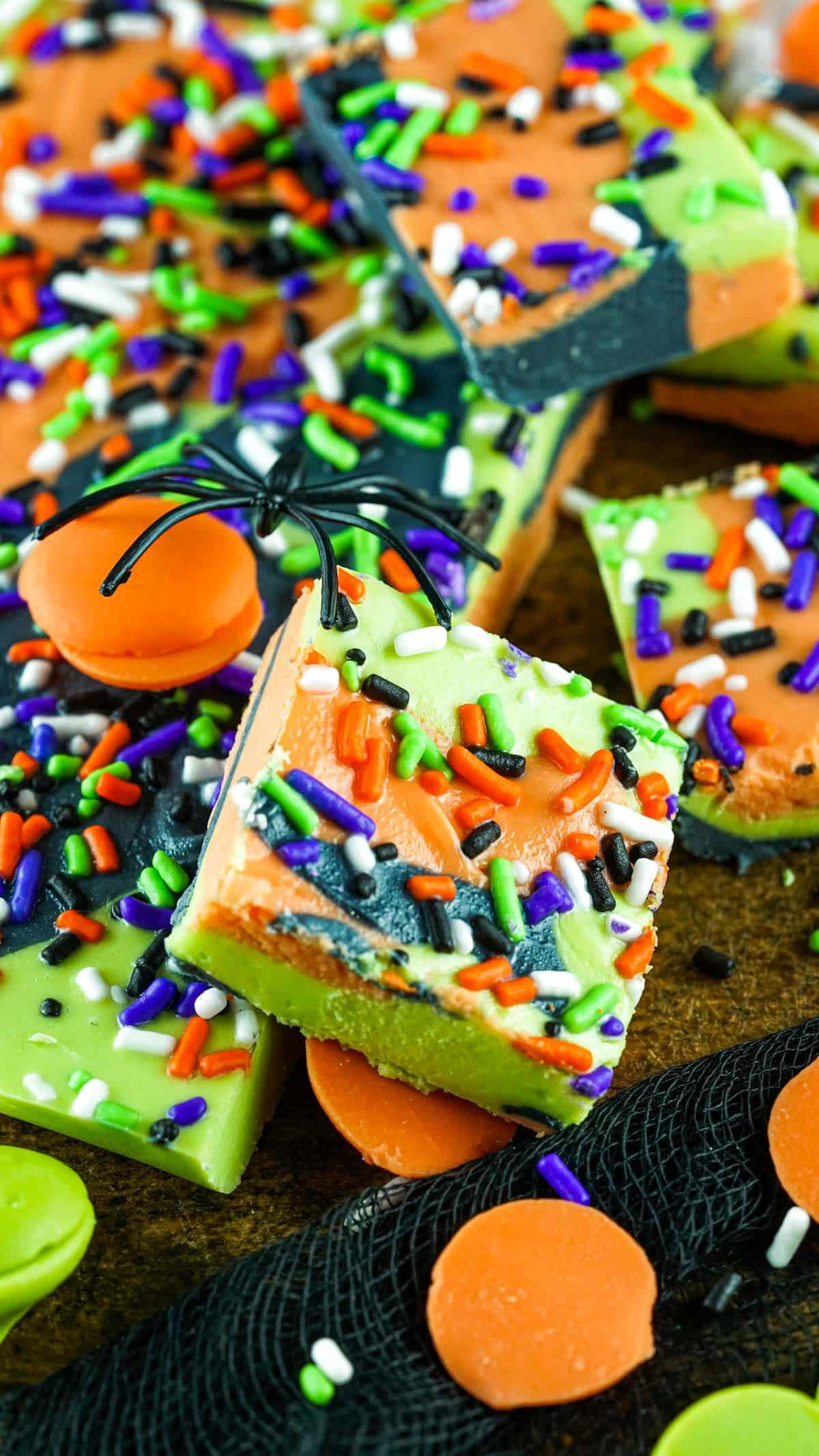 fake spider on top of Halloween fudge pieces