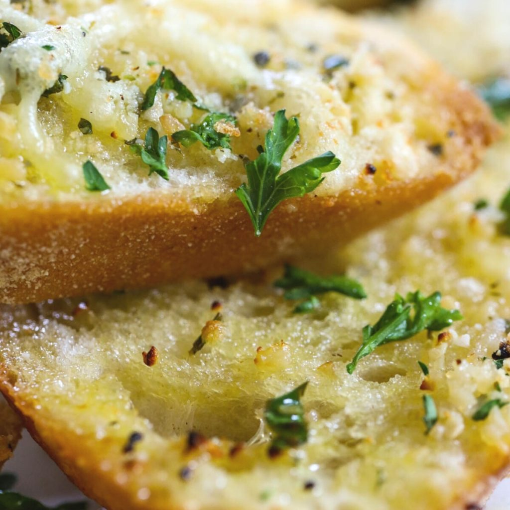air fryer buttery garlic bread with parsley