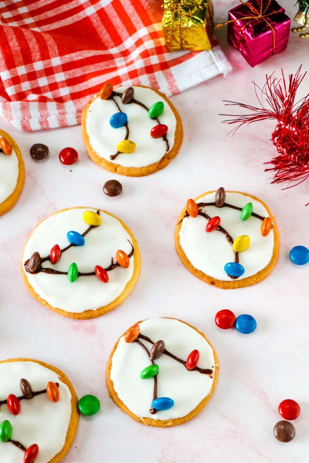 Christmas light bulb cookies with m&m candy on top