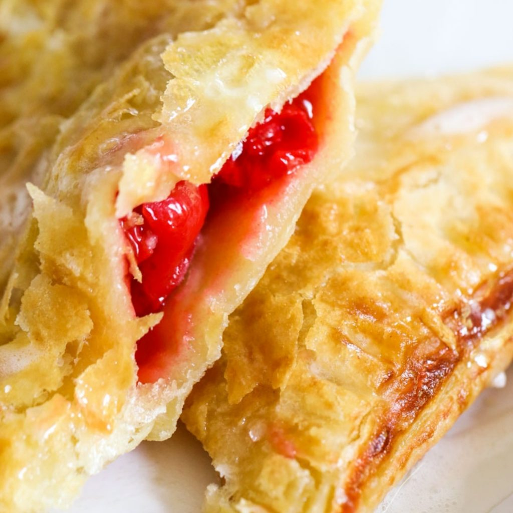 air fryer cherry turnover with golden crust
