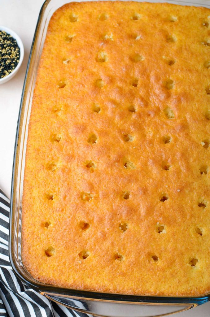 baked cake with holes