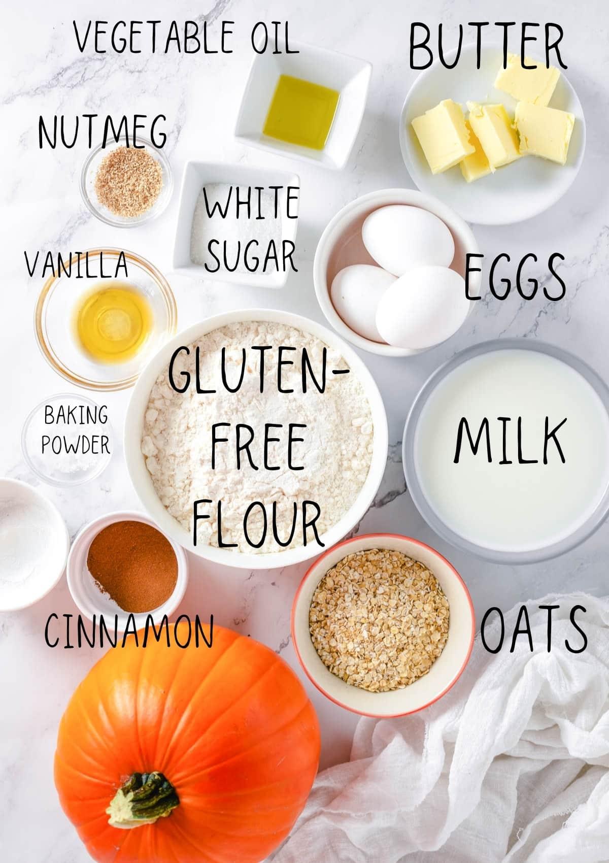 pumpkin pancake ingredients on a table
