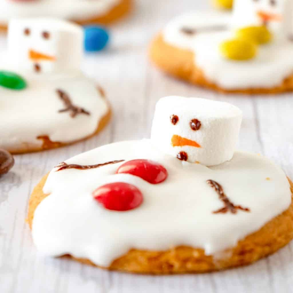 marshmallow melted snowman cookie with m&m buttons