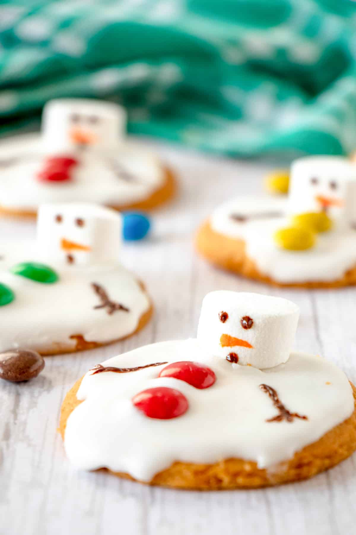 melted snowman cookies with marshmallow and m&m