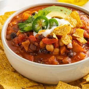 thick and rich smoky chili topped with cilantro avocado and served with golden tortilla chips