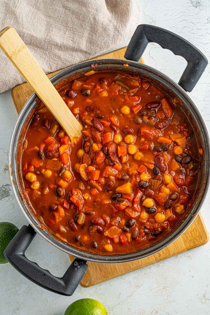 simmering chili beans in pot
