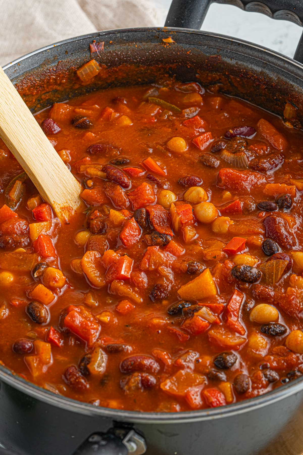 chili in a large pot with several types of beans