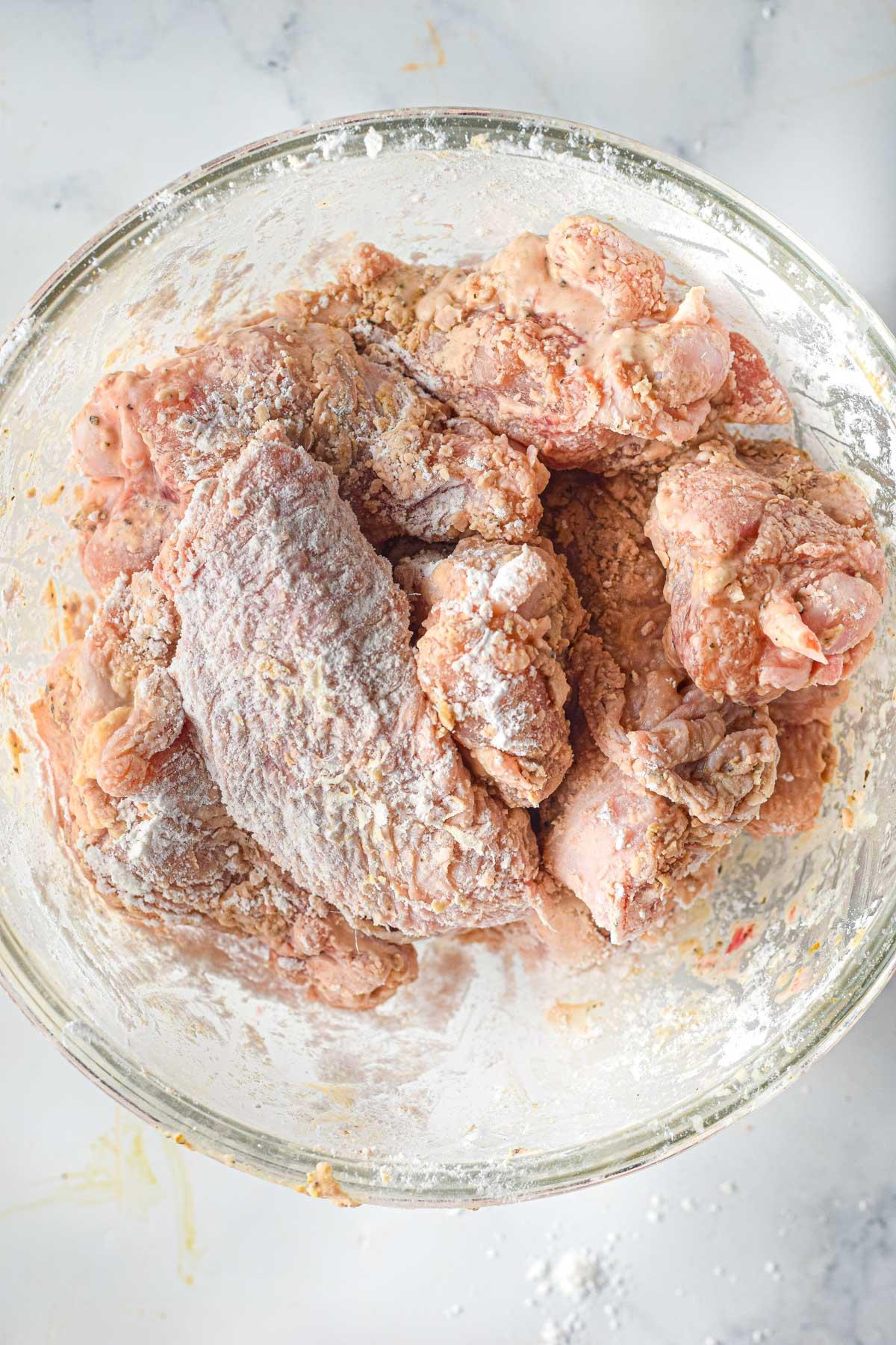 preparing chicken wings