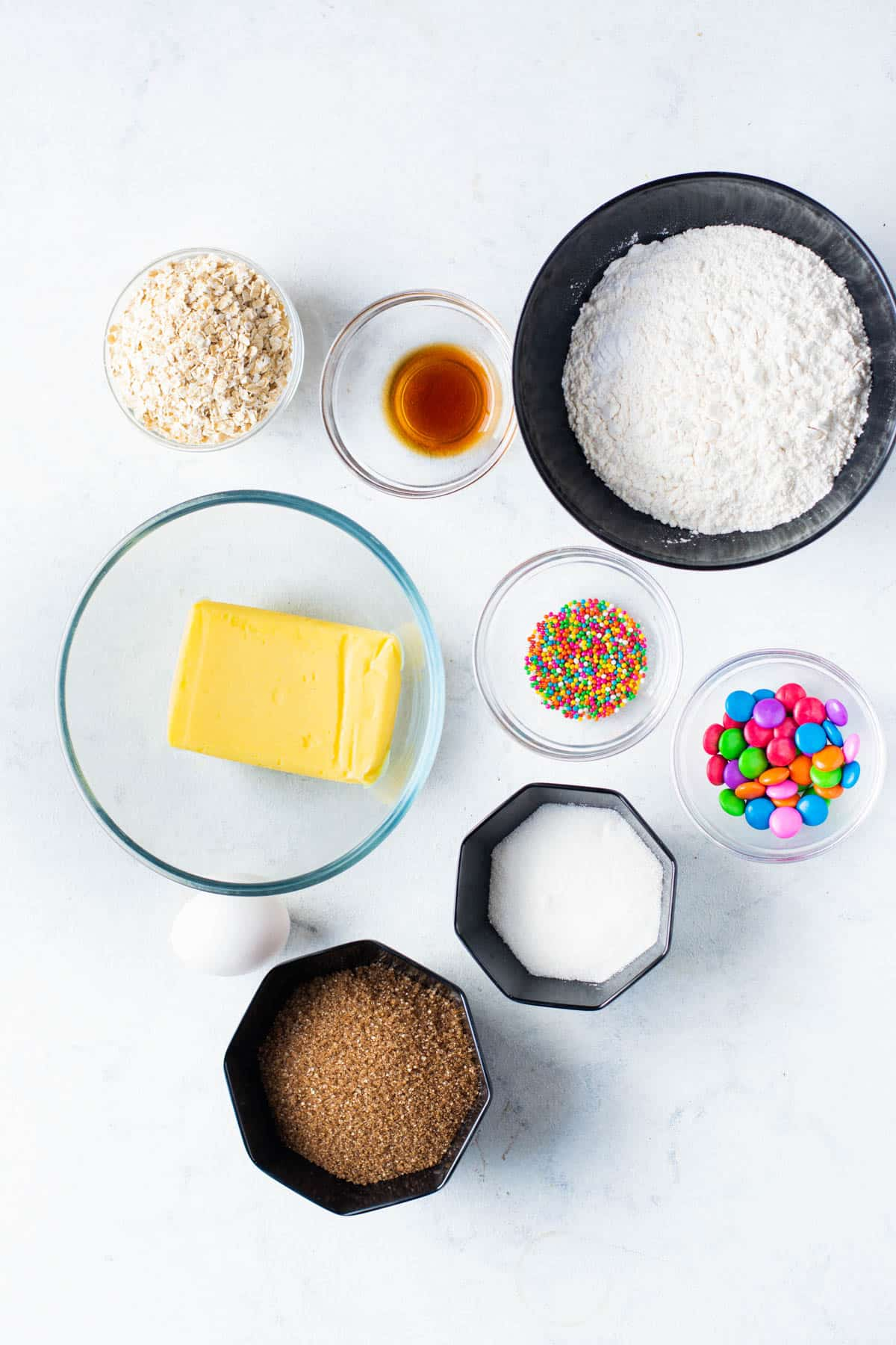 ingredients for oatmeal monster cookie sandwiches