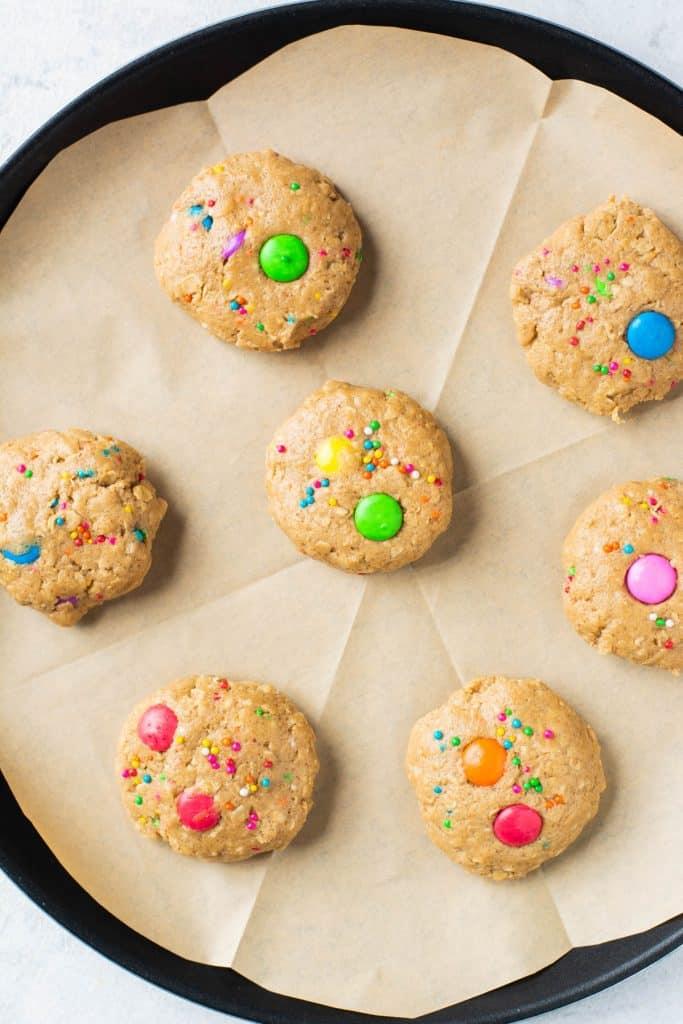 placing cookies on baking sheet