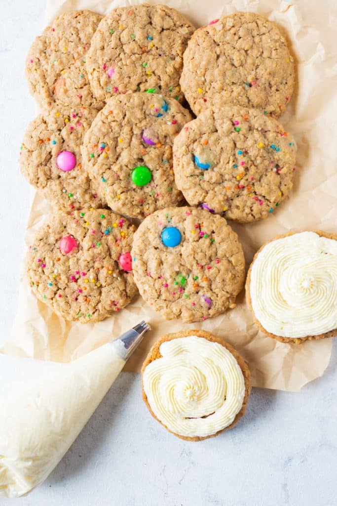 frosting each cookie